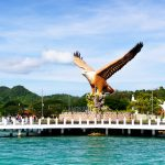 Shot of Langkawi's Eagle Square from the sea